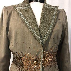 True Meaning Women's Blazer Olive Green W/ Sequins